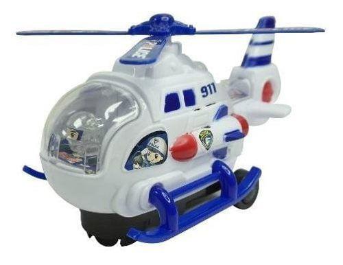 Juguete, helicopetero blanco con azul