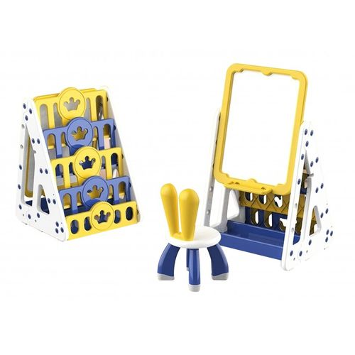Set de pizarra con repisas y silla para niños