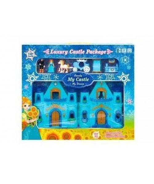 Castillo de princesa tipo frozen con musica color celeste