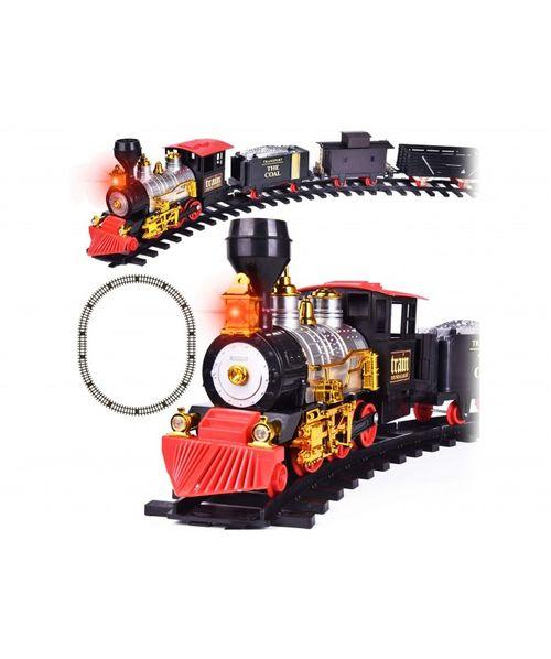 Juguete, tren con vagones, carros, luces y musical