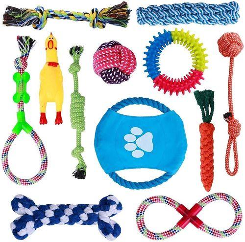 Set de 12 juguetes masticables para mascotas